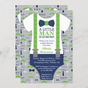 Little Man Baby Shower Invitation, Blue, Green Invitation