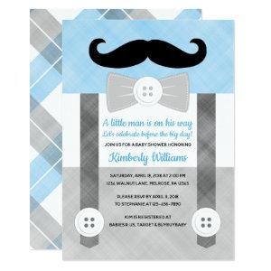 Little man baby shower invitation boy plaid blue