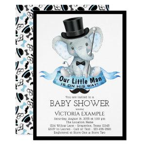 Little Man Baby Shower Invitation Dapper Elephant