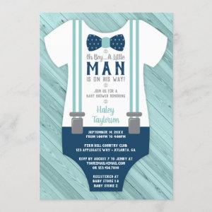 Little Man Baby Shower Invitation, Navy Blue, Aqua Invitation