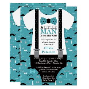 Little Man Baby Shower Invitation, Teal, Black Invitation