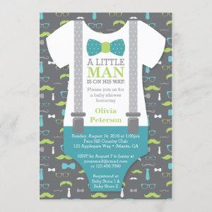 Little Man Baby Shower Invitation, Teal, Green Invitation