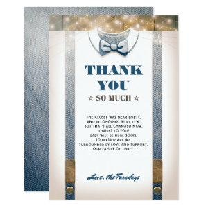 Little Man Baby Shower | Rustic Country Thank You Invitation