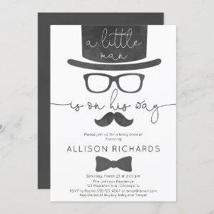 Little man boy baby shower invitation
