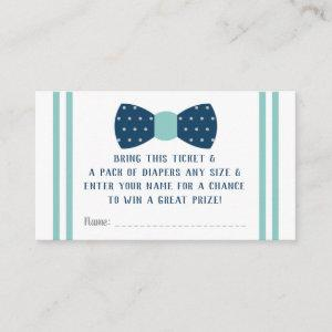 Little Man Diaper Raffle Ticket, Navy, Aqua Enclosure Card