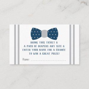 Little Man Diaper Raffle Ticket, Navy, Gray Enclosure Card