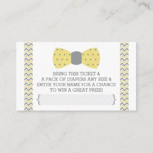 Little Man Diaper Raffle Ticket, Yellow, Gray Enclosure Card