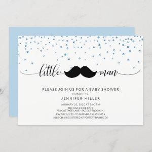 Little Man Mustache Boys Baby Shower Invitation