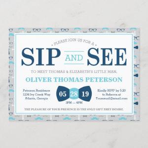 Little Man Sip and See Baby Shower Invitation