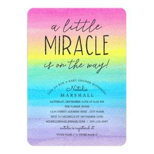 Little Miracle | Watercolor Rainbow Baby Shower Invitation