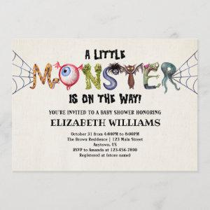 Little Monster On The Way Halloween Baby Shower
