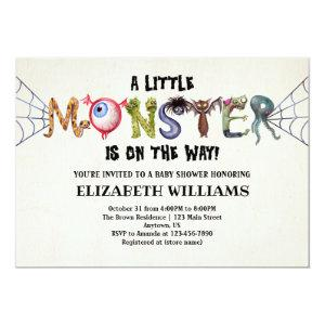 Little Monster On The Way Halloween Baby Shower Invitation