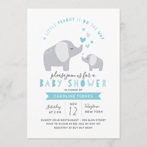 Little Peanut Elephant | Baby Shower | Blue Invitation