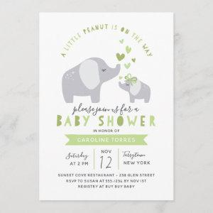 Little Peanut Elephant | Baby Shower | Green Invitation