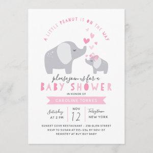 Little Peanut Elephant | Baby Shower | Pink Invitation