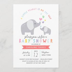 Little Peanut Elephant | Baby Shower | Rainbow Invitation
