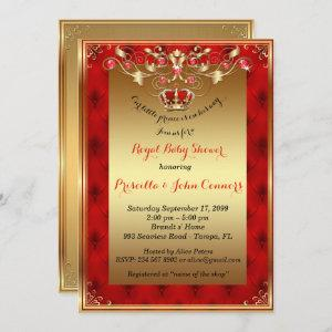 Little Prince Baby Shower Invitation,gold,red Invitation