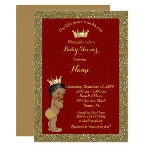Little Prince Baby Shower Invitation,gold, red Invitation