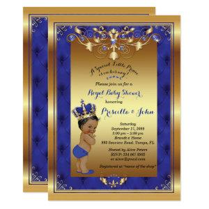 Little Prince Baby Shower Invitation, Royal Blue Invitation