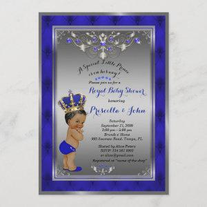 Little Prince Baby Shower Invitation, Royal SILVER Invitation