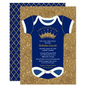 Little Prince Navy Blue & Royal Gold Baby Shower Invitation