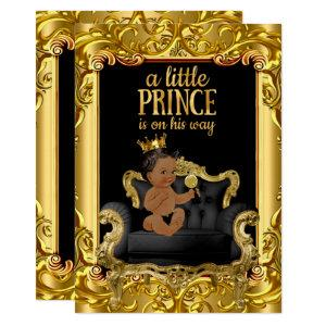 Little Prince on Throne Baby Shower Ethnic Invitation