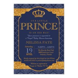Little Prince Royal Navy Blue Gold Baby Shower Invitation