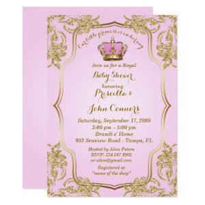 Little Princess Baby Shower Invitation, gold, pink Invitation