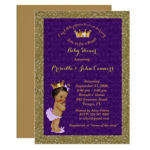 Little Princess Baby Shower Invitation,gold,purple Invitation