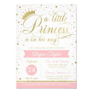 Little Princess Baby Shower Invite, Faux Glitter Invitation