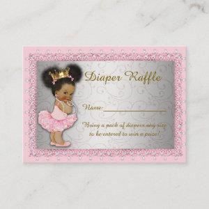 Little Princess Diaper Raffle Tickets, pink silver Enclosure Card