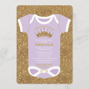 Little Princess Lilac Gold Baby Shower Invitation