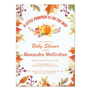Little Pumpkin Baby Shower Invitation Card
