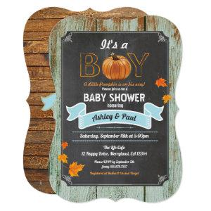 Little pumpkin baby shower rustic wood chalkboard invitation