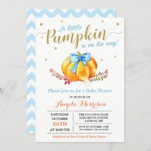 Little Pumpkin Boy Gold Blue Fall Baby Shower Invitation