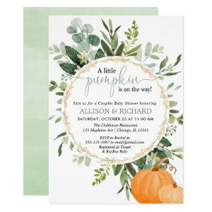 Little pumpkin fall couples greenery baby shower invitation