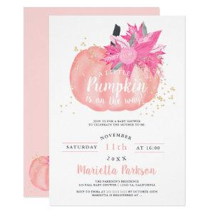 Little pumpkin floral pastel pink fall baby shower invitation