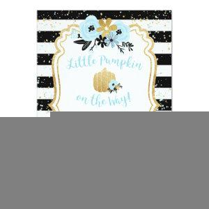 Little Pumpkin on the Way- Blue and Gold- Boy Invitation