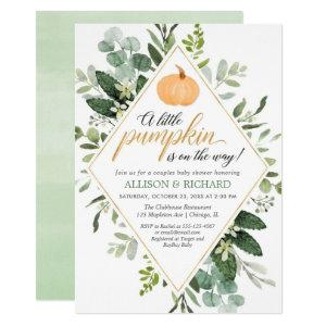 Little pumpkin on the way couples baby shower invitation