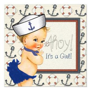 Little Sailor Girl Nautical Baby Shower Invitation