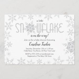 Little Snowflake Baby Shower Gray & Silver Glitter Invitation