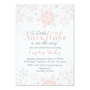 Little Snowflake Baby Shower Invite in Pink Silver