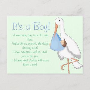 """Little Stork"" It's a Boy! Announcement Postcard"