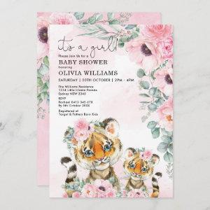 Little Tiger Pink Floral Greenery Girl Baby Shower