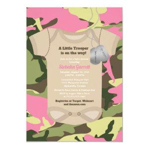 Little Trooper Army Military Girl Camo Baby Shower Invitation