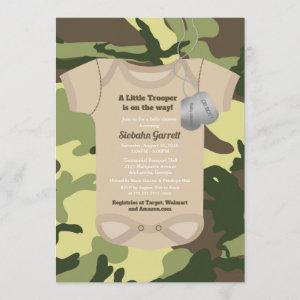 Little Trooper Army or Military Camo Baby Shower Invitation