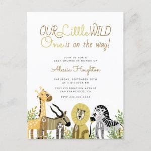 Little Wild One Safari Animals Baby Shower Invitation Postcard