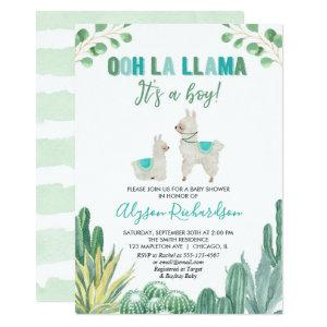 Llama and cactus boy baby shower invitation