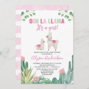 Llama and cactus girl baby shower invitation