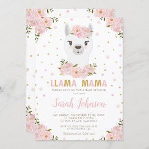 Llama Baby Shower Blush Floral Invitation